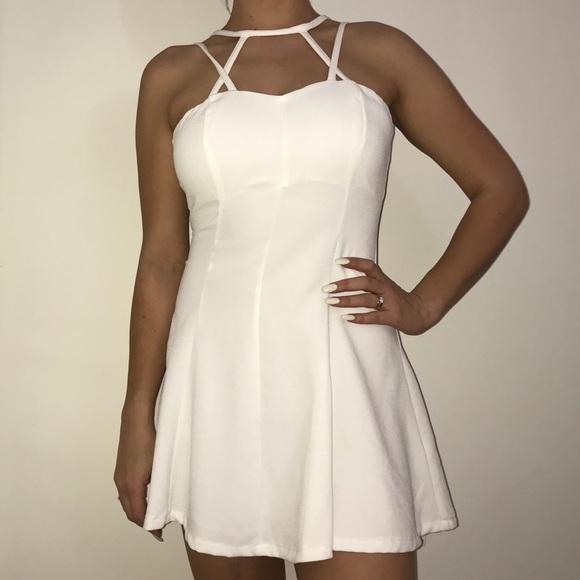 76e8d278abad White Strappy Skater Dress